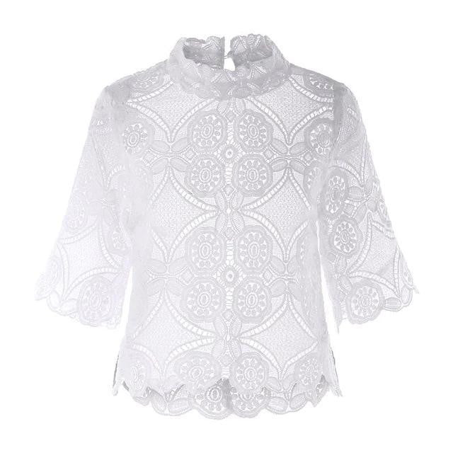 O-Neck Hollow Out Tunic Lace Blouse - klozetstyle.com