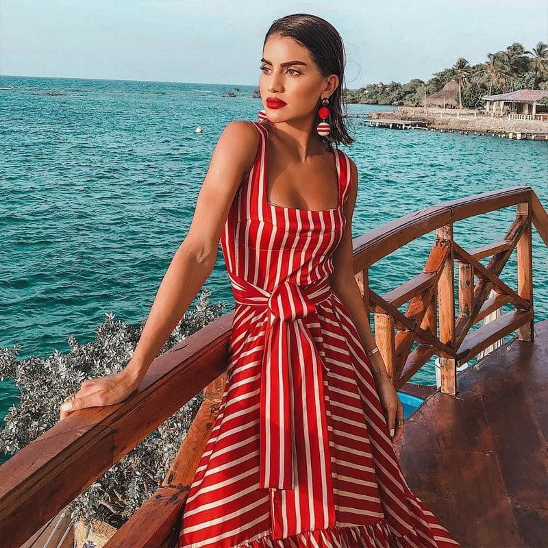 Stripe Patchwork Long Print Floral Bow Lace Up Ruffles Bohemia Long Summer Dresses - klozetstyle.com