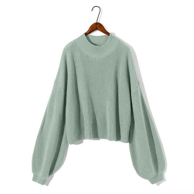 Autumn Winter Knitted Short O-Neck Casual Lantern Sleeve Loose Sweater Pullovers - klozetstyle.com