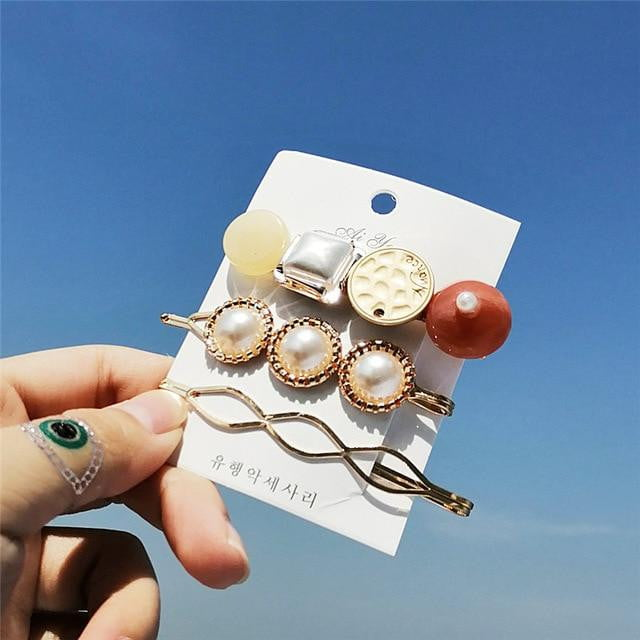 14 New ins Fashion Hairpins Set | Simulated-pearl Stone Hair Clips Jewelry Accessories - klozetstyle.com