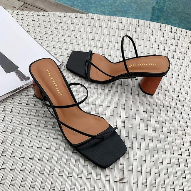 Vintage Square Toe Narrow Band Wood Heel Sandals - klozetstyle.com
