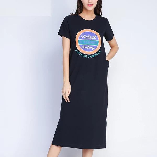 Plus Size Navy Pocket O-neck Short Sleeve Maxi Dress - klozetstyle.com