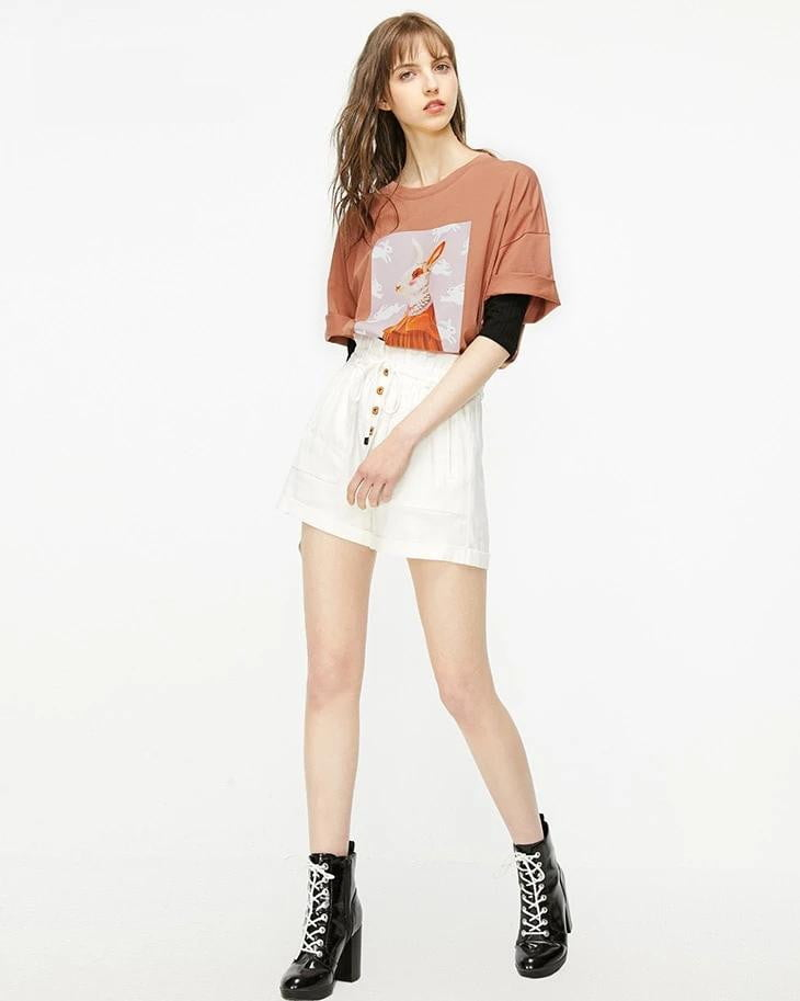 Spring and Summer Loose Fit Round Neckline Elbow Sleeves T-shirt - klozetstyle.com