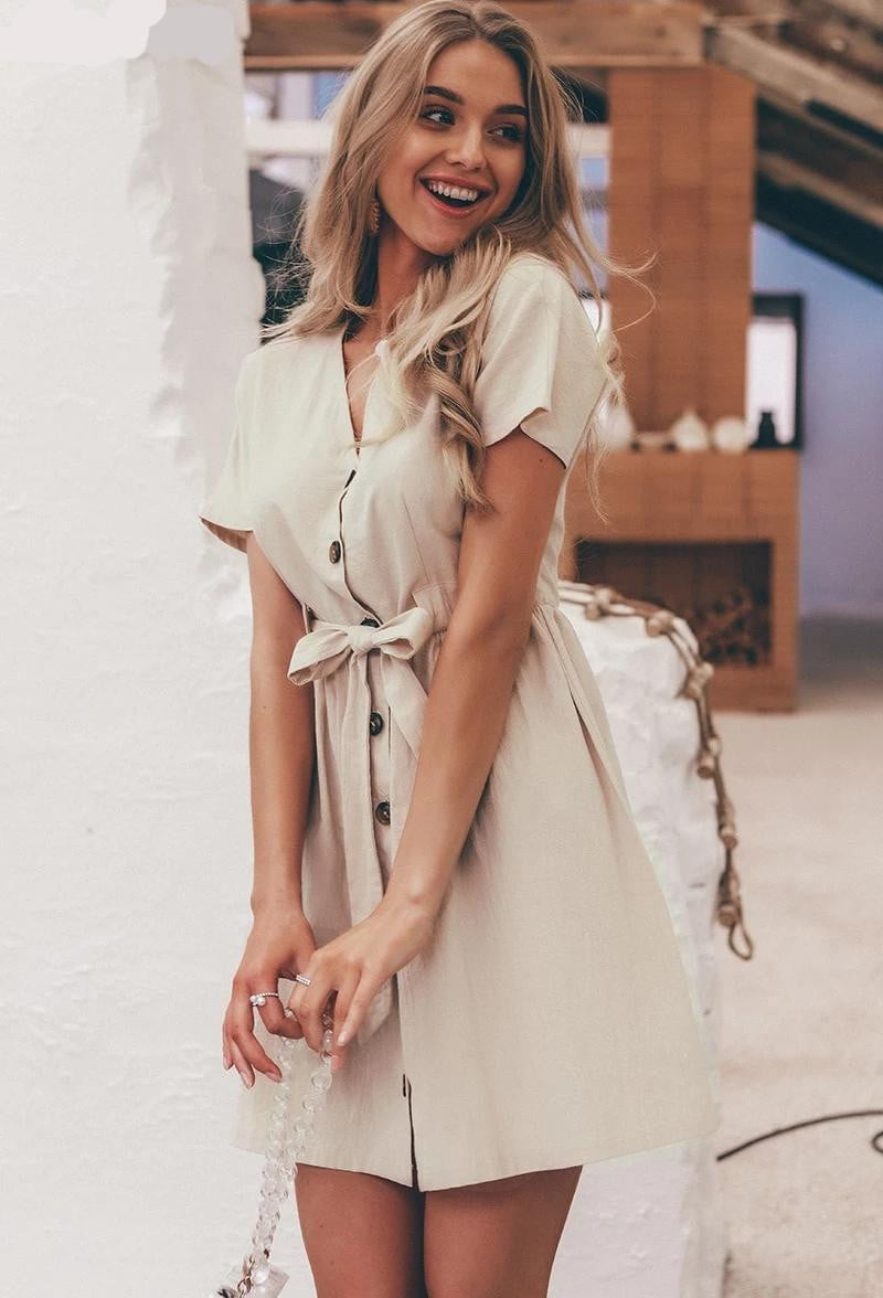 Casual Cotton Button Summer Vintage V neck Short Sleeve Bow Belt Short Shirt Dress - klozetstyle.com