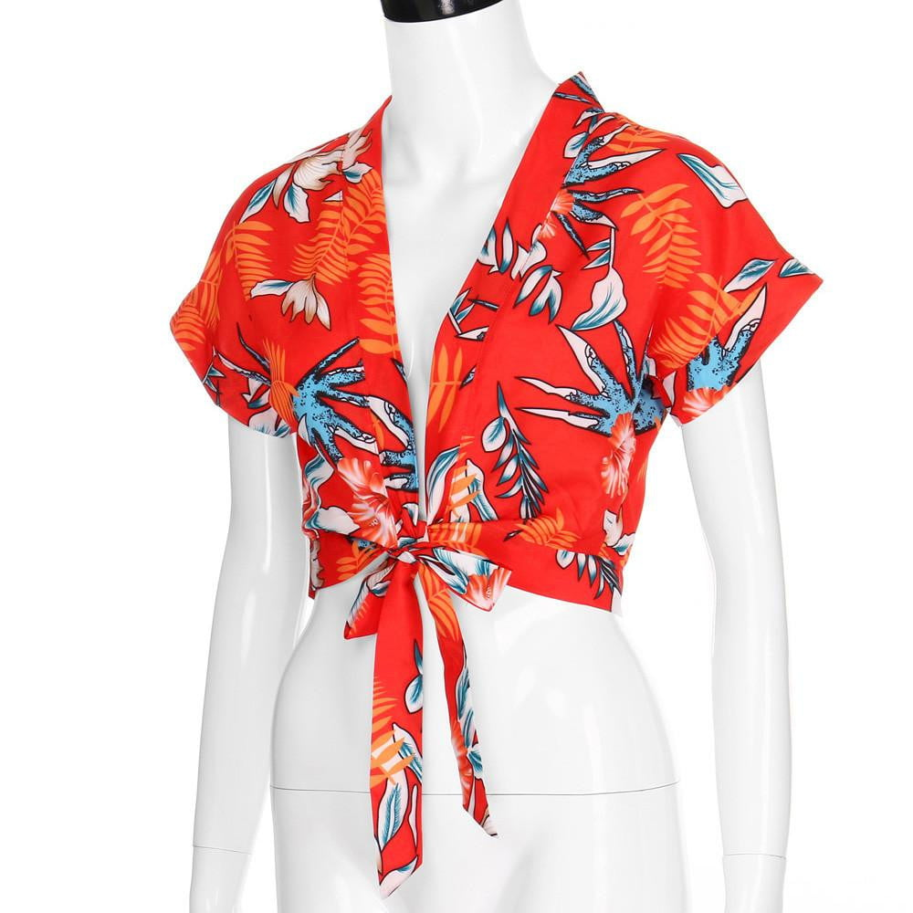 Trendy Deep-V neck Colorful Short Sleeve flower Print Crop Top - klozetstyle.com