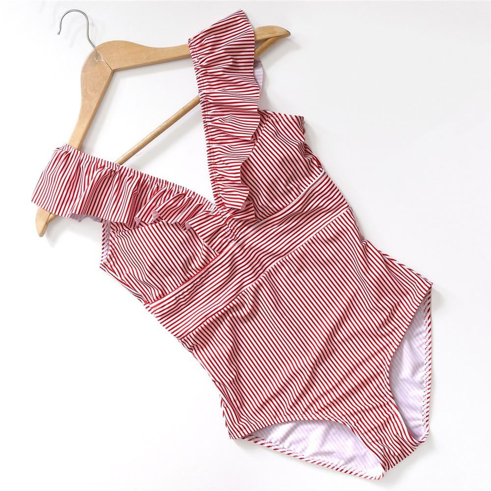 Retro V Neck Striped One Piece Ruffled Push Up Padded High Waist Swimwearni - klozetstyle.com
