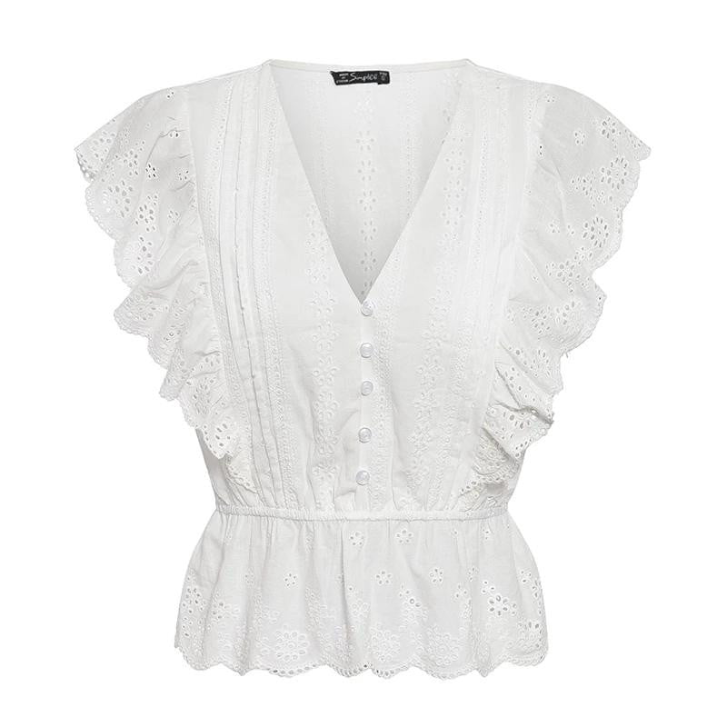 Ruffle sleeve hollow out cotton embroidery blouse - klozetstyle.com