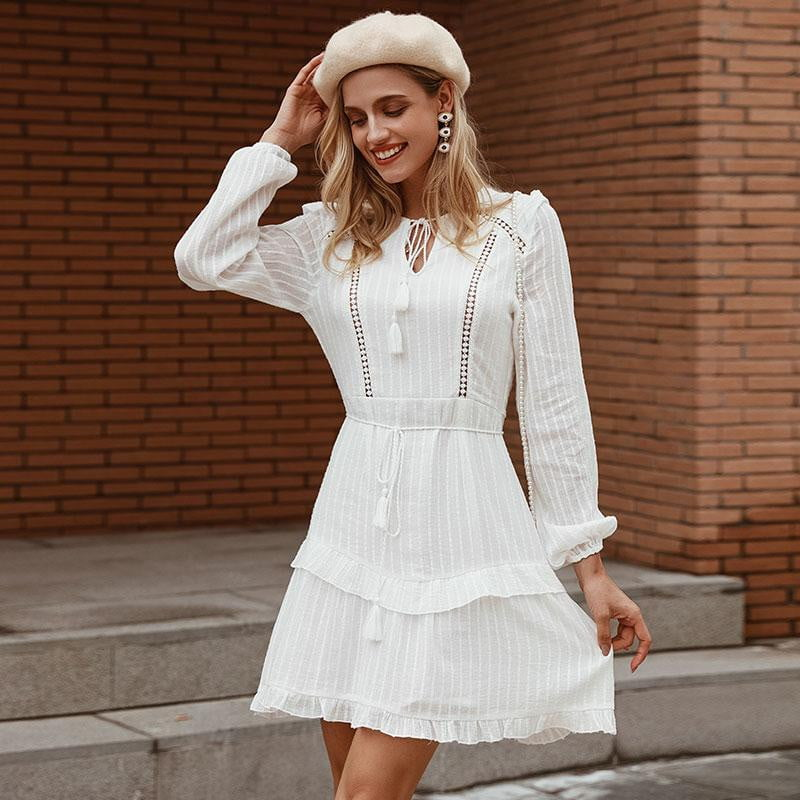 Hollow Out Tassel Winter Lantern Long Sleeve Ruffles Dress - klozetstyle.com