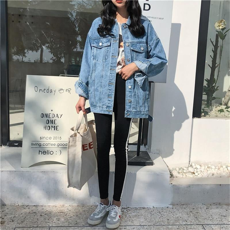 Turn-down Collar Blue Loose Casual Denim Jacket - klozetstyle.com