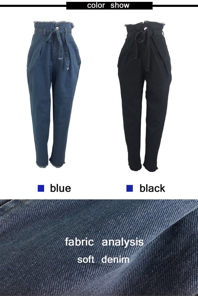 High Waist denim Harem Pants Plus size Jeans - klozetstyle.com
