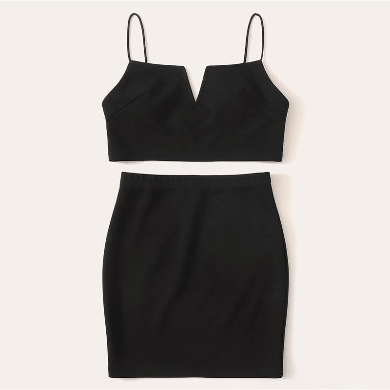 V-Cut Crop Cami Top And Skirt Set Sexy Black Solid Notched Spaghetti Strap Summer Sleeveless Two Piece Sets - klozetstyle.com