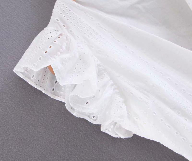 Ruffle sleeve pleated hollow out smock white lace blouse - klozetstyle.com