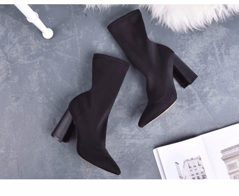 Pointed Toe Yarn Elastic Thick High Heels Ankle Boots