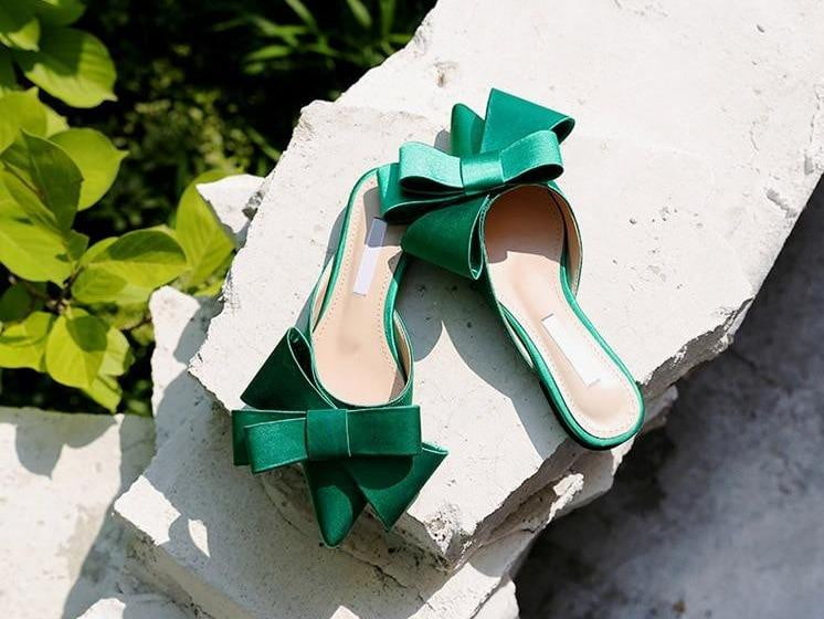 Pointed Toe Bow Tie Silk Satin Flat Sandals - klozetstyle.com