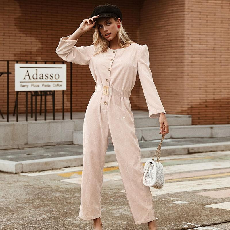 Corduroy Light Pink High Fashion Button Jumpsuit - klozetstyle.com