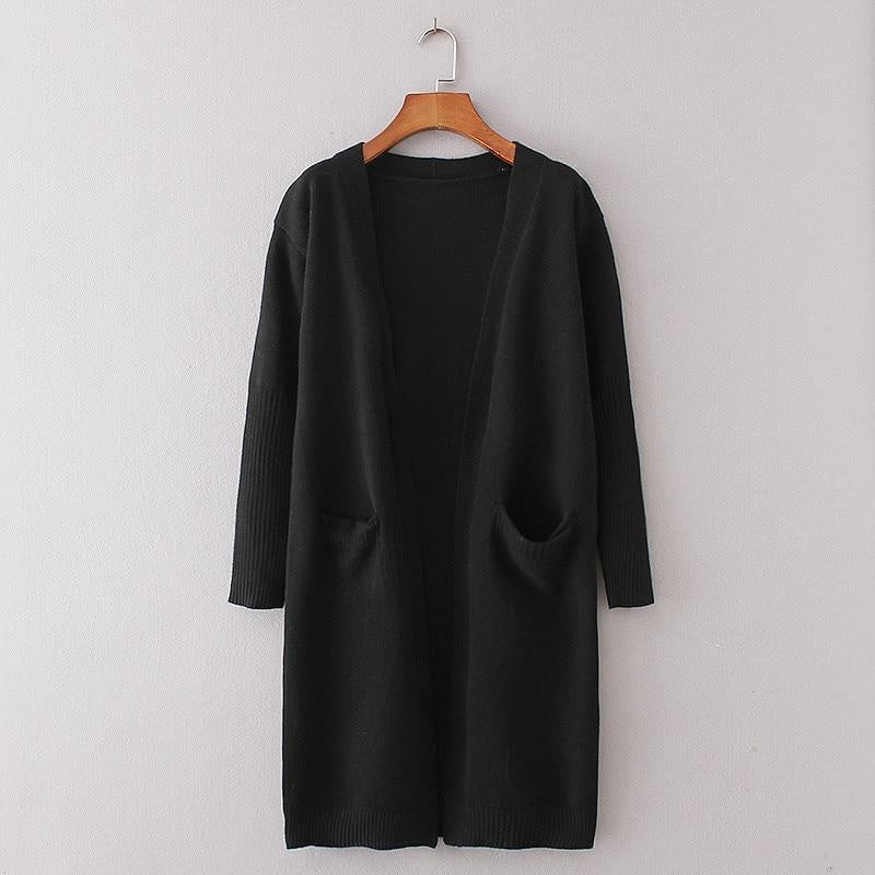 ,klozetstyle-com,Cashmere Solid Knit Long Sleeve Pocket Cardigan
