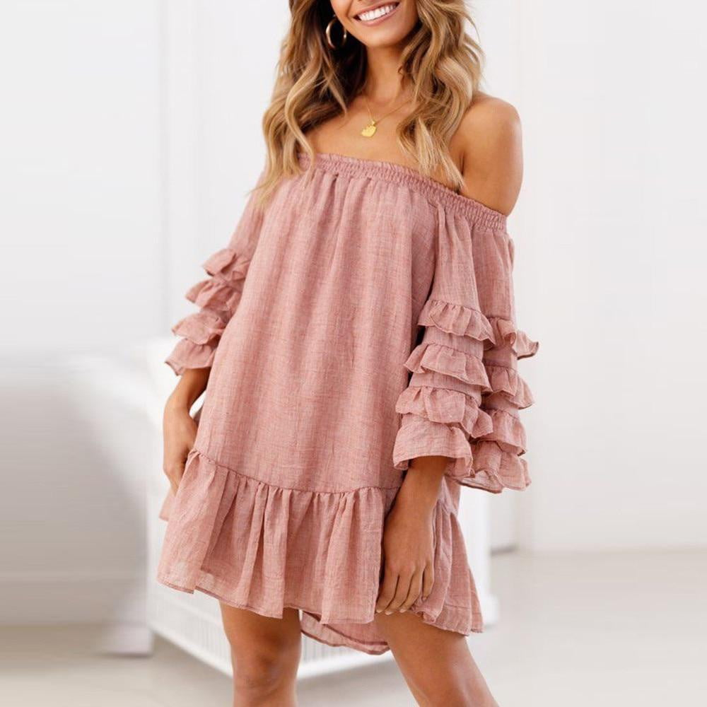 Ruffled Layered Sleeved Casual Off Shoulder Loose Evening Party Short Mini Dress - klozetstyle.com