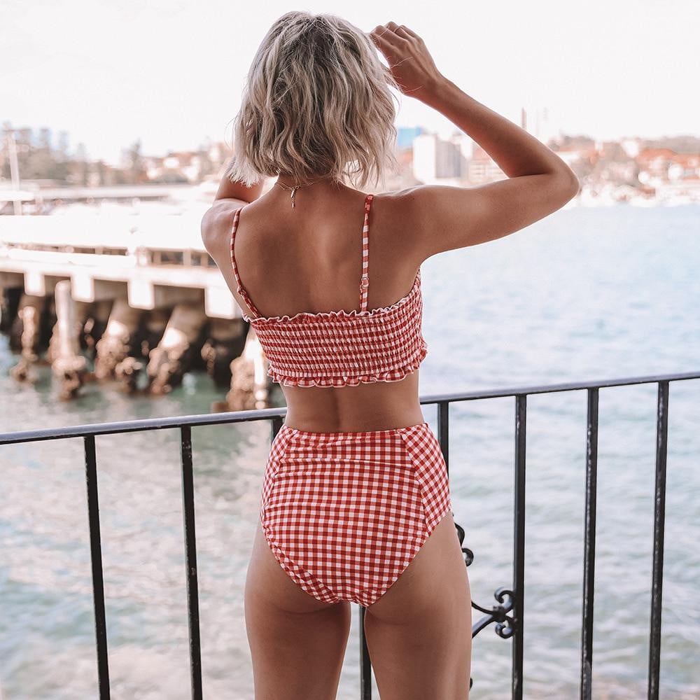 Red Gingham Smocked Bandeau Bikini Sets Cute High Waist Two Pieces Swimsuits - klozetstyle.com