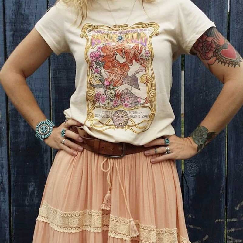 O-neck Graphic Boho Tee Shirt - klozetstyle.com