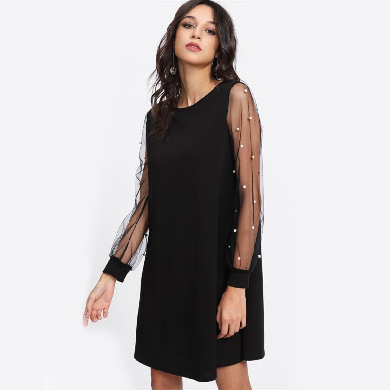 Pearl Beading Mesh Sleeve Tunic Boat Neck Long Sleeve A Line Dress