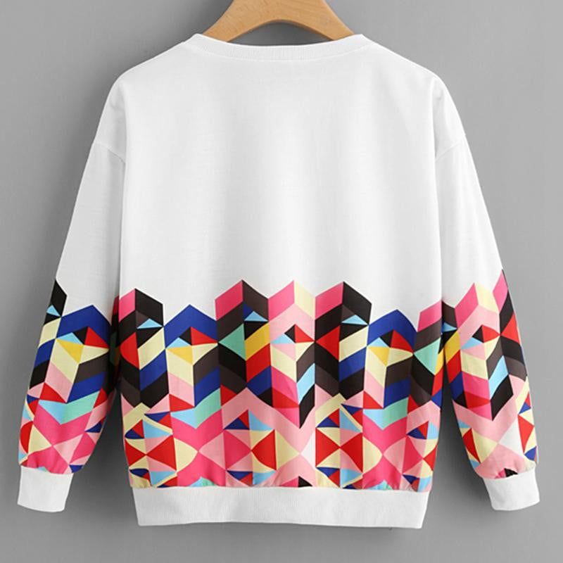 Geo Print Zipper Side Drop Shoulder Sweatshirt - klozetstyle.com