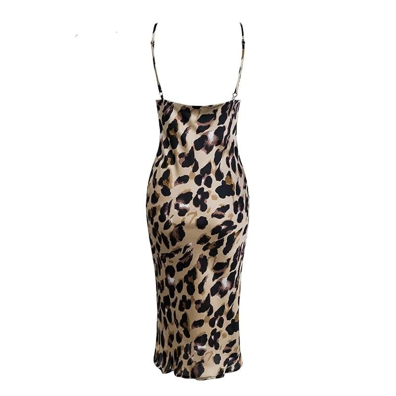 Leopard print backless bodycon summer party dress - klozetstyle.com