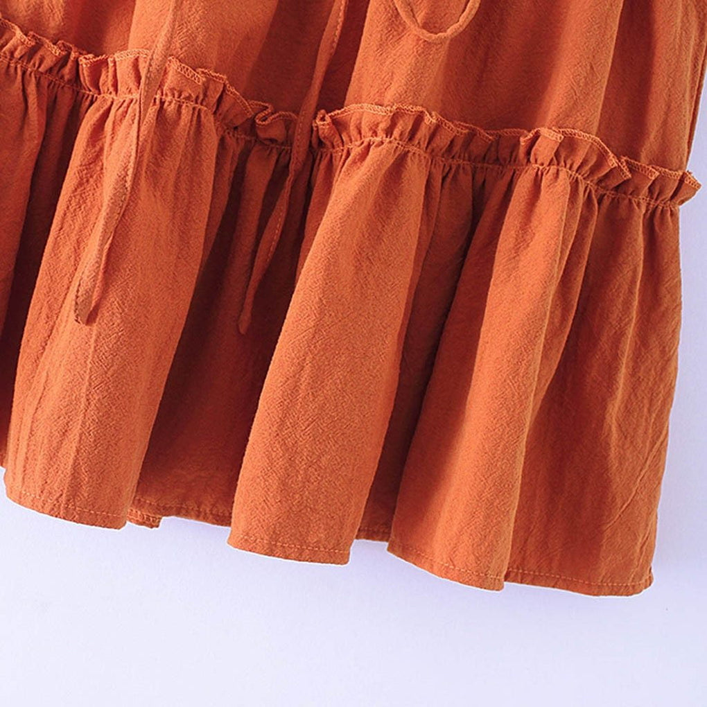 Casual Solid Ruffles Pleated Lace Up Mini Skirt - klozetstyle.com