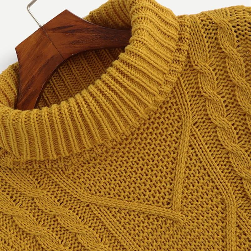 Ginger Mixed Knit Asymmetrical Hem Sweaters - klozetstyle.com