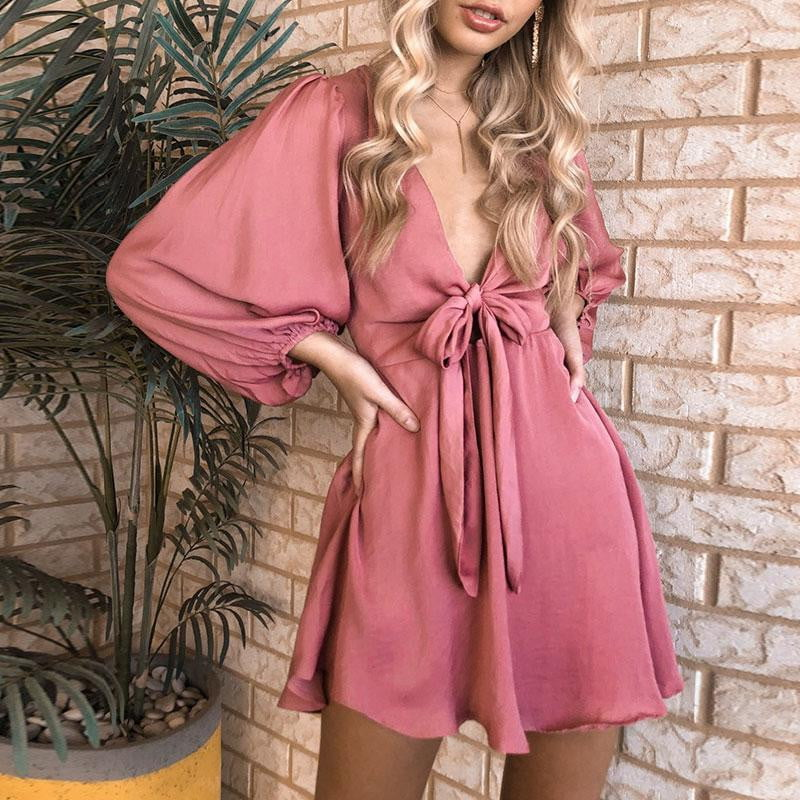 V Neck Bow Satin High Waist Lantern Sleeves Mini Dress - klozetstyle.com