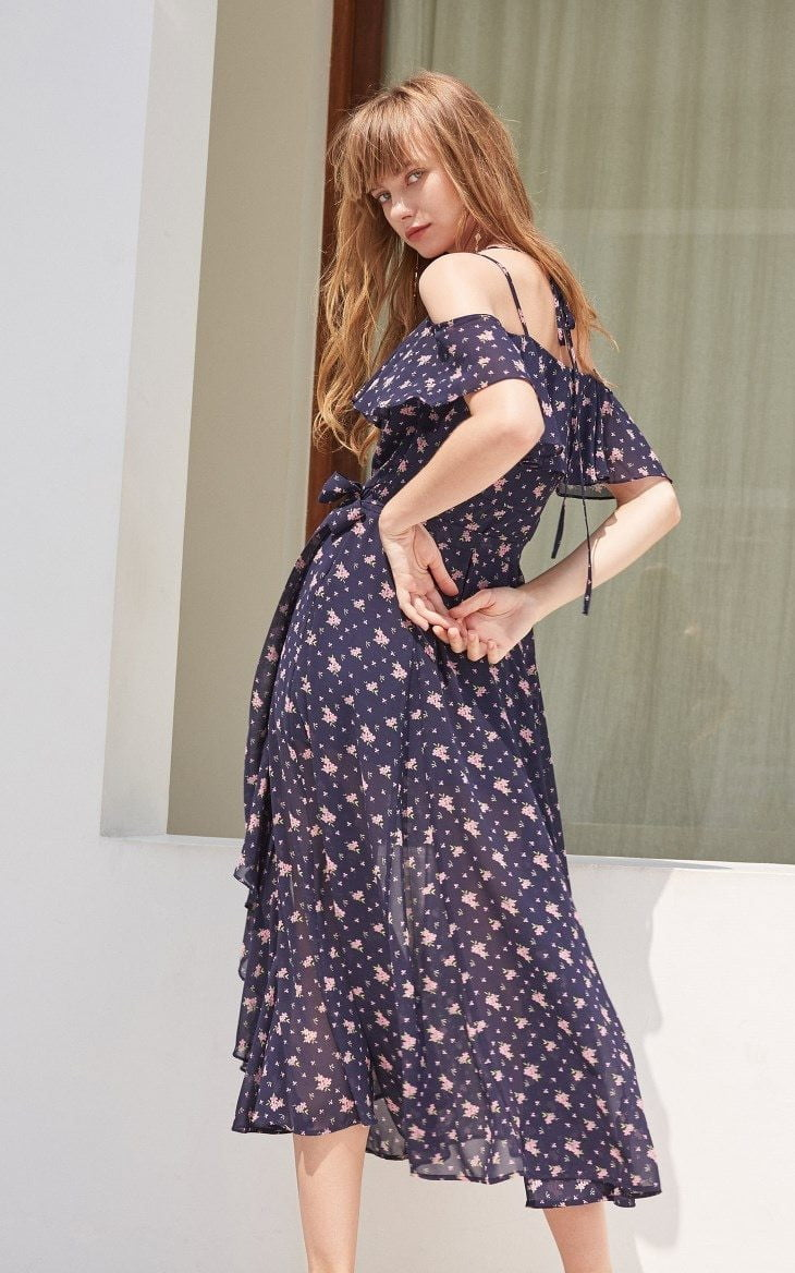 Ruffled Floral Slip Strap Dress Maxi/Long Beach Dress - klozetstyle.com
