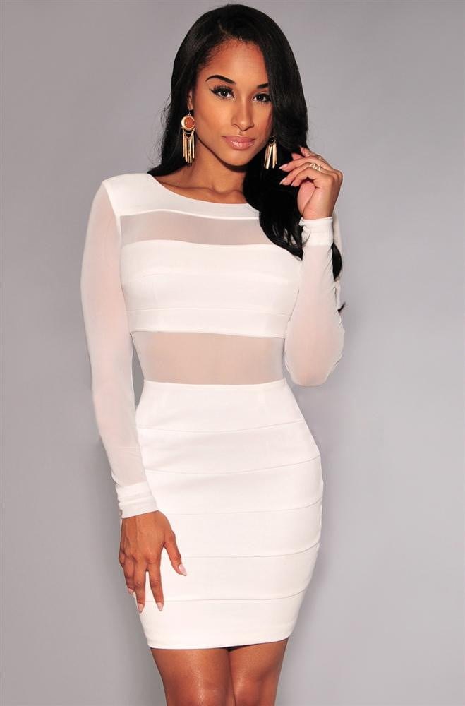 Klozetstyle Long Sleeve Mesh Patchwork Hollow Out Pencil Bodycon Bandage Dress | klozetstyle.com.