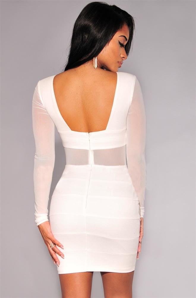 Long Sleeve Mesh Patchwork Hollow Out Pencil Bodycon Bandage Dress