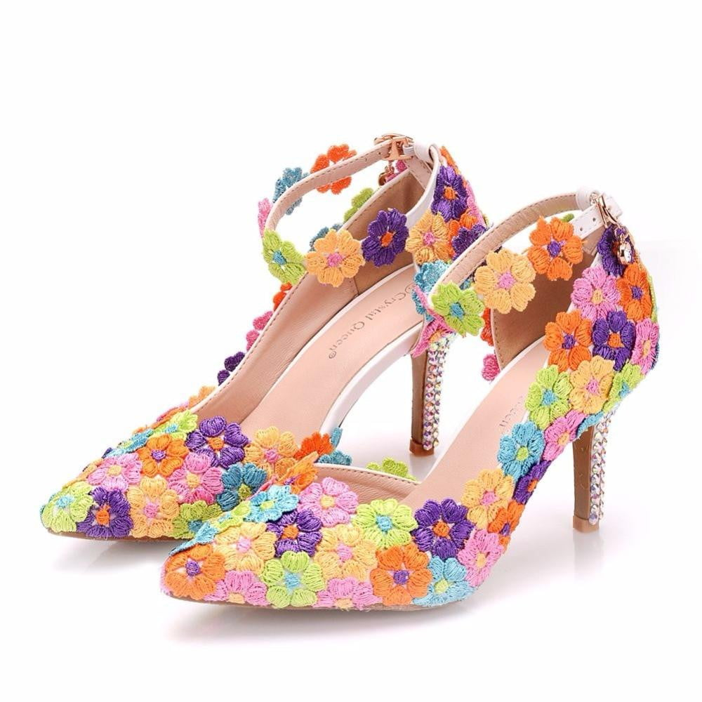 Lace Flower Slip On Shallow Pointed Toe High Heel Shoes