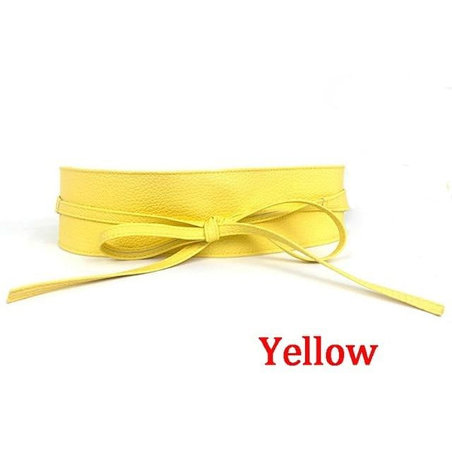 1PC Metallic Color Soft Faux Leather Self Tie Wrap Waist Wide Belt - klozetstyle.com