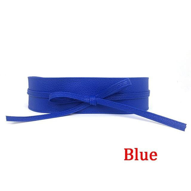 ,klozetstyle-com,1PC Metallic Color Soft Faux Leather Self Tie Wrap Waist Wide Belt