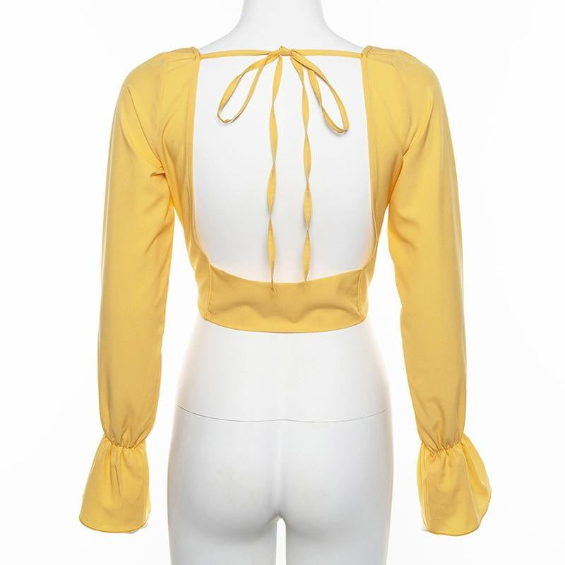 Vintage Square Collar Casual Bow Backless Long Sleeve Yellow Blouse Shirts - klozetstyle.com