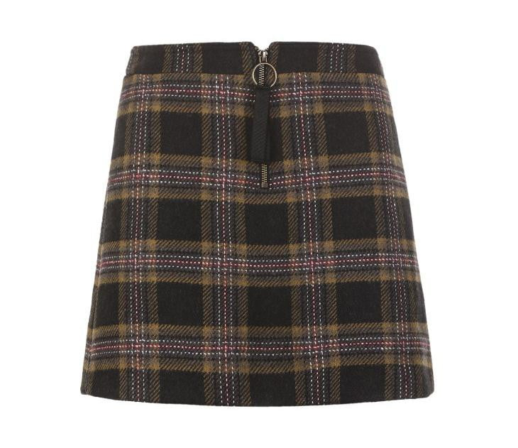 Woolen Plaid Zipped Midi skirt - klozetstyle.com