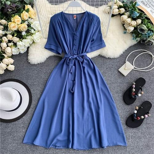 ,klozetstyle-com,Spring V Neck High Waist Casual Bandage Summer Midi Dress