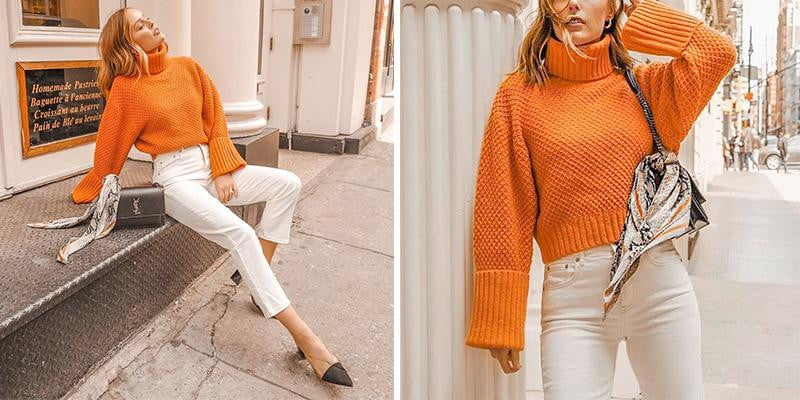 Orange turtleneck knitted women pullover sweater Vintage wide long sleeve autumn winter sweater - klozetstyle.com
