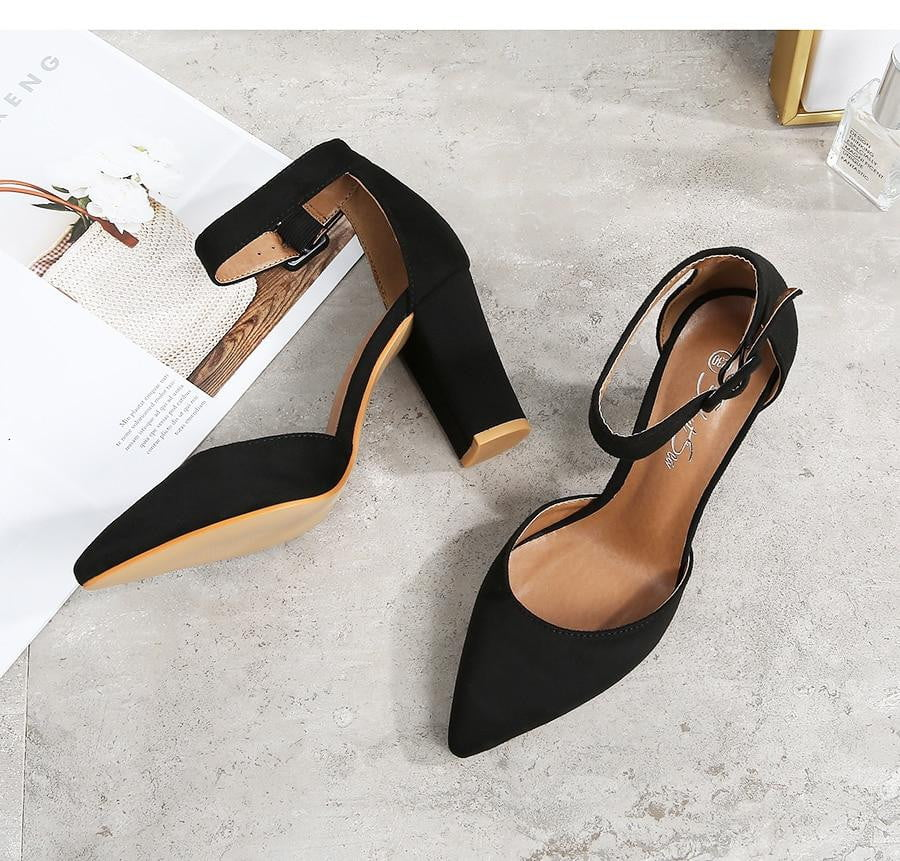 Flock Slip-On Ankle Strap High Heel Sandals