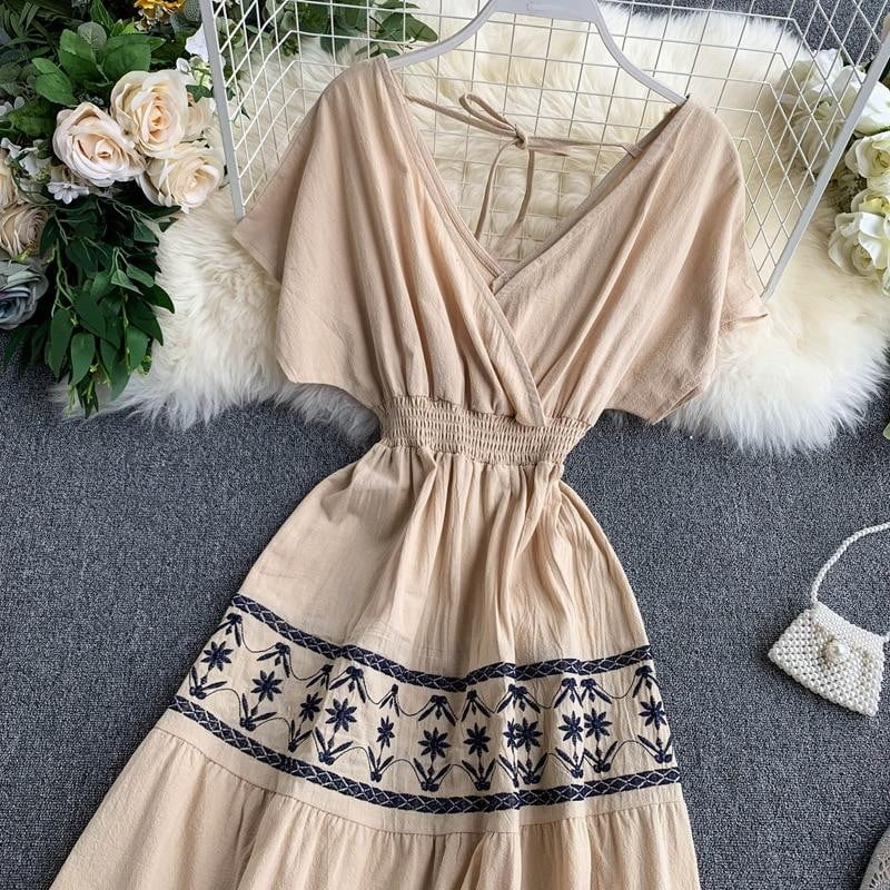 Ethnic style summer high waist embroidery tassel midi dress - klozetstyle.com