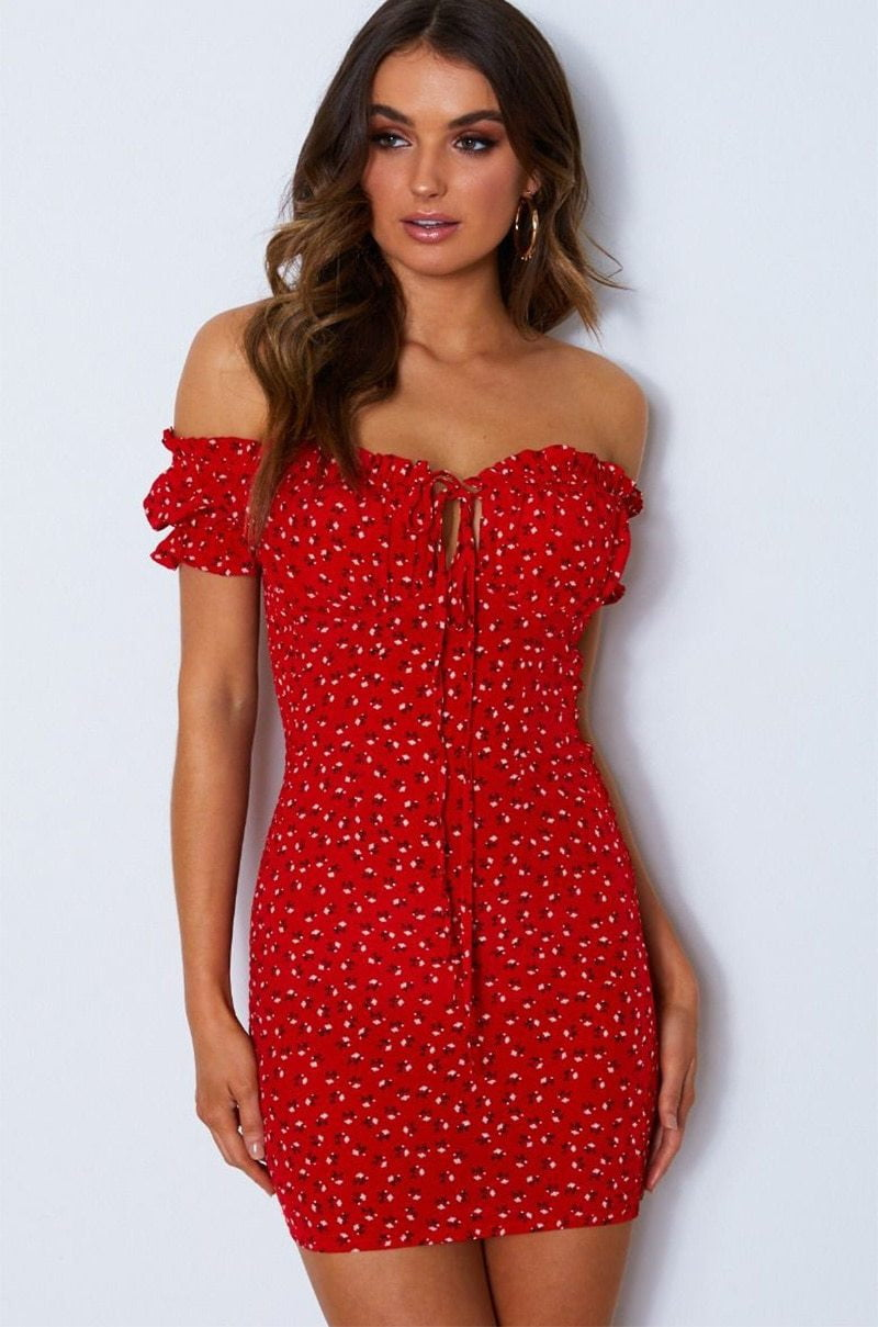 ,klozetstyle-com,Red Frill Off Shoulder Tie Floral Print Sundress