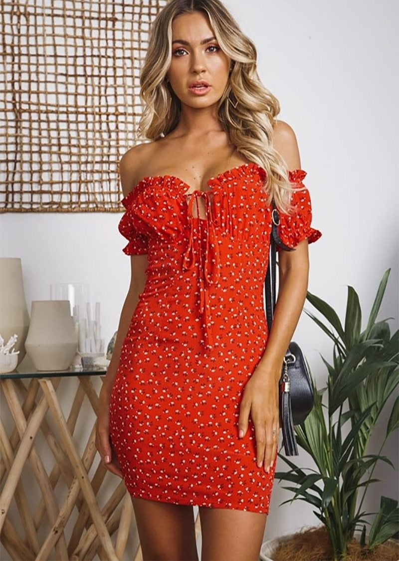 Off The Shoulder Floral Print Frill Sundress - klozetstyle.com