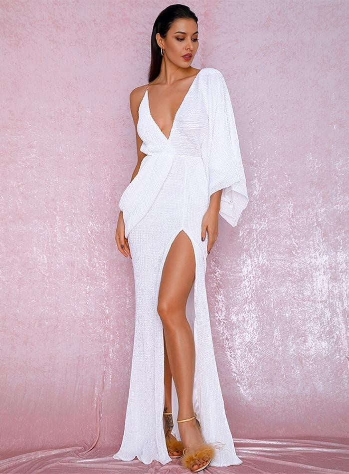 White V-Neck Single Sleeve Sequins Split Party Maxi Dress