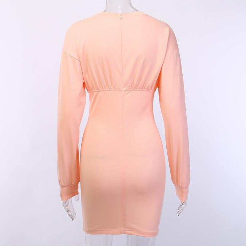 Long sleeve solid bodycon autumn winter party elegant streetwear dress - klozetstyle.com