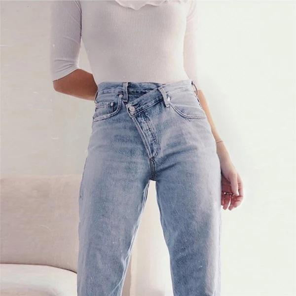 Spring Loose Casual Straight Pants Cotton High Waist Streetwear Wide Leg Jeans - klozetstyle.com