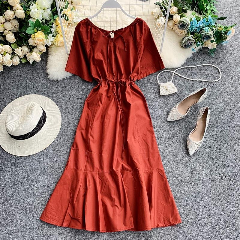 Round Neck Pure Color Simple Short Sleeve High Waist Summer Casual Dress - klozetstyle.com