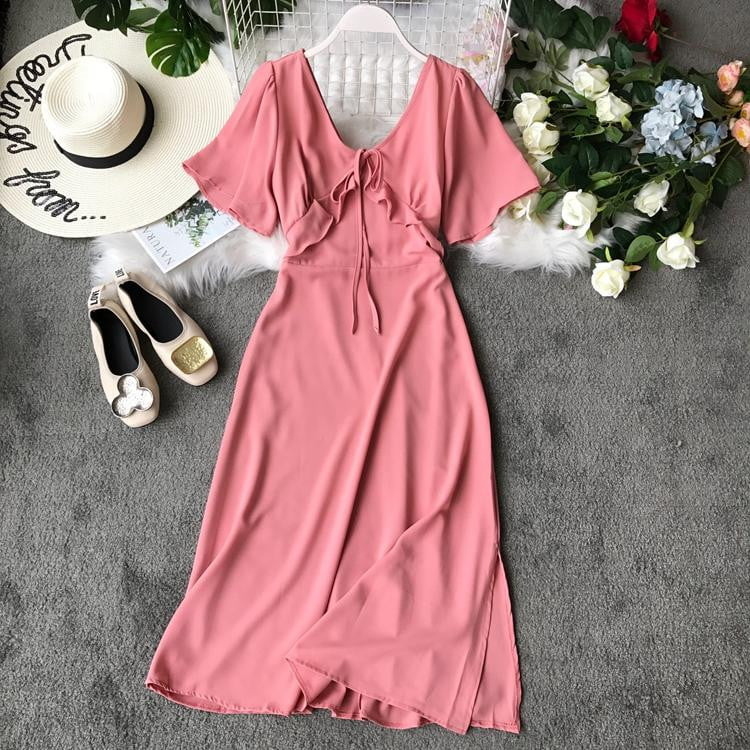 Short Flare Sleeve Slim Dress - klozetstyle.com