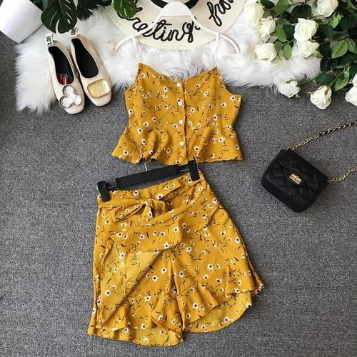 Summer Flower Printing Sleeveless Short Crop Tops + High Waist Broad-legged Shorts Skirts Two-piece Sets - klozetstyle.com