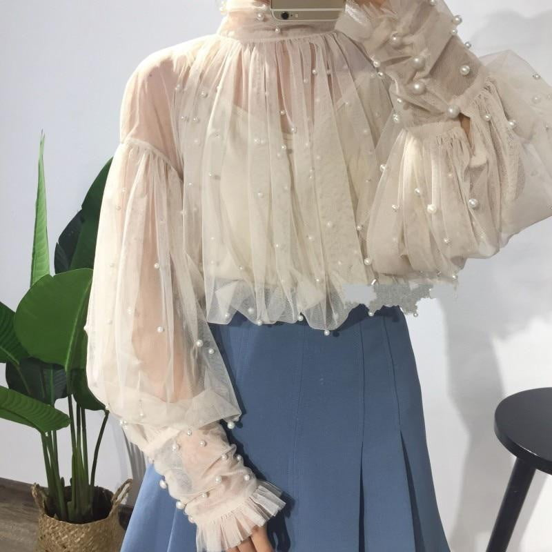 Sweet Beads Bubble Sleeve Pearls Button Gauze Mesh Blouse - klozetstyle.com